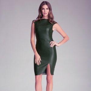 GORGEOUS BEBE green faux leather midi dress